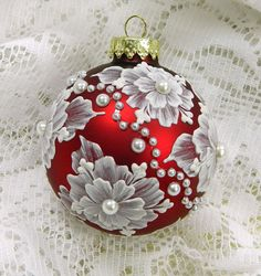 Red Hand Painted Floral MUD Ornament with Pearls by TheMUDLady