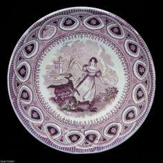 DANCING GOAT Purple Staffordshire Transferware Childs Tea Set Saucer c1850