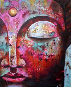 "Digital printing – Fine Art Print ""Buddha III"" mounted on wood – a unique product by ateliertantetrulla on DaWanda Namaste Art, Art Visage, Buddha Zen, Buddha Painting, Goddess Art, Yoga Art, Zen Art, Buddhist Art, Whimsical Art"