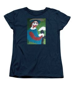 Purchase a women's Navy Designer t-shirt featuring the image of Man With A Feathered Hat 2014 by Patrick Francis.  Available in sizes S - XXL.  Each womens t-shirt is printed on-demand, ships within 1 - 2 business days, and comes with a 30-day money-back guarantee.