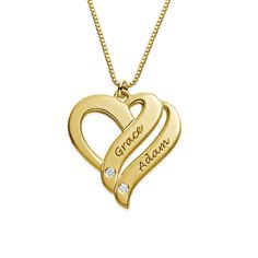 Birthstones and a personalized engraving come together to create our Two Hearts Forever One Necklace with Birthstones. We love this birthstone necklace! Gold Gold, 18k Gold, Jeans Et T-shirt, Name Necklace, Gold Necklace, Gold Jewelry, Fine Jewelry, Gold Earrings Designs, Two Hearts