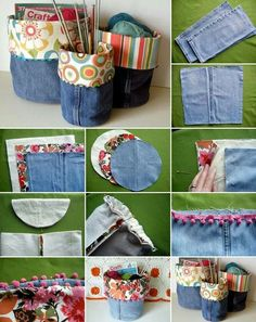 Turn Your Old Pair of Jeans into These Wonderful Storage Bins Source: makezine Space for storage is the need of every house. It would be great if you can create some storage by recycling something. For that grabArea for storage is the necessit Jean Crafts, Denim Crafts, Sewing Hacks, Sewing Crafts, Sewing Projects, Jean Diy, Denim Ideas, Recycle Jeans, Diy Couture
