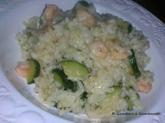 Cukkinis, garnélarákos rizottó Potato Salad, Grains, Potatoes, Rice, Ethnic Recipes, Food, Potato, Hoods, Meals