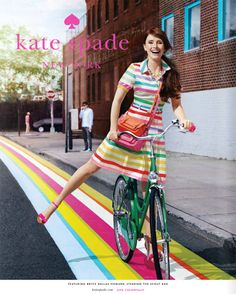 Bryce Dallas Howard in a kate spade ad campaign 2011 with bicycle Bryce Dallas Howard, Shirtdress Outfit, Kate Spade Logo, Cycle Chic, Mein Style, Steven Meisel, Summer Accessories, Fashion Accessories, Advertising Campaign
