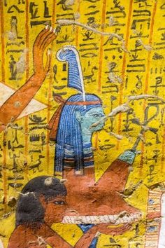 UNESCO World Heritage: The Servant in the Place of Truth, Irynefer, offering a blue-feather adorned Maat. Maat is the divine principle of Truth and Right. Tomb of Irynefer (TT290), Thebes, Upper Egypt, Deir el Medineh. 19th dynasty, ancient Egypt, reign of king Rameses II.
