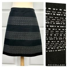 Ann Taylor Loft Black Cotton Skirt Embroidered Lined Short Sz 4 Simple #AnnTaylor #Mini Cotton Skirt, Black Fabric, Black Cotton, Ann Taylor Loft, Snug, High Waisted Skirt, Stripes, Ebay Clothing, Simple