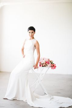 Slim crepe gown with illusion lace sheer back by Nouvelle Amsale Photo: Kristen Kay Photography Wedding Dress Shopping, Designer Wedding Dresses, Illusion, Bridal Gowns, Bridesmaid, Slim, Lace, Photography, Fashion