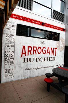 Branding of The Arrogant Butcher, a new restaurant in Phoenix, Arizona by Tunnel Bravo. Love the type treatment!