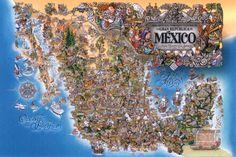 Mapa Artístico, Turístico y Cultural de nuestro hermoso México (Autor: Jorge Escudero de Sybaris)    Un clásico que no podía faltar en nuestra pared.