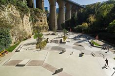 luxembourg city skatepark is built in shades of the adjacent vauban fortress