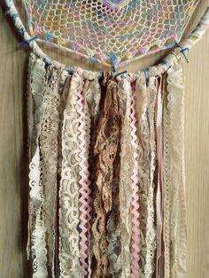 Bohemian Spirit Vintage Lace Trim Rainbow Dreamcatcher by kmichel