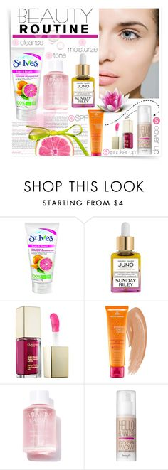 """""""Morning Beauty Routine"""" by katrinaalice ❤ liked on Polyvore featuring beauty, See by Chloé, Sunday Riley, Clarins, MDSolarSciences, Amanda Lacey, Benefit, Beauty, makeup and skincare"""