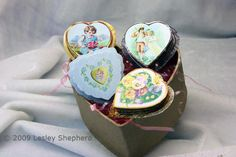 These printable miniature heart shaped boxes with Victorian decorations can be made in several styles and sizes to be used for candy favors, valentines displays, wedding favors, miniature boxes, or as dolls house valentines for a scene or dollhouse shop.