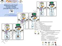 FREEBIE!! Irregular Past Tense Verb Snowmen Match Up from Twin Sisters Speech on TeachersNotebook.com (15 pages)  - Irregular past tense verbs are tricky! They require the act of memorization because they go against all of the normal rules on how to make a verb go into past tense form. They are difficult for students to learn!