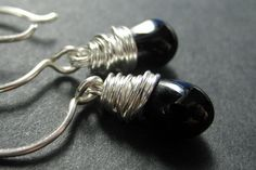 Black Earrings. Wire Wrapped Black Teardrop by TheTeardropShop, $20.00