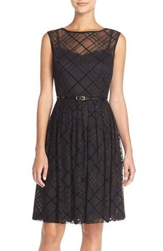 Ellen Tracy Plaid Mesh Fit & Flare Dress available at #Nordstrom