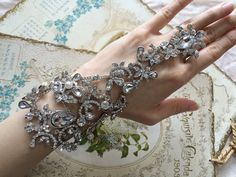 Victorian love sparkle rhinestone crystal wedding bridal ring and cuff bracelet