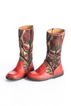 Beautiful brocade maisole fabric and red leather combine to create these special boots.