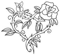 Rose Free Tattoo Stencil - Free Tattoo Rose Designs For Women - Customized Rose Tattoos - Free Rose Tattoos - Free Rose Printable Tattoo Stencils - Free Rose Printable Tattoo Designs Stencils Tatuagem, Tattoo Stencils, Free Tattoo Designs, Heart Tattoo Designs, Heart Designs, Flower Designs, Rose Vine Tattoos, Flower Tattoos, Simple Rose Tattoo