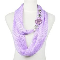 flower charms snood infinity endless loop scarf hood colors available Scarf Necklace, Scarf Jewelry, Diy Necklace, Fashion Necklace, Jewellery, Diy Scarf, Loop Scarf, Scarf Wrap, Scarf Holder