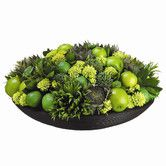 "Found it at Wayfair - 11"" Limes, Apples, Sunflowers and Alliums with Bamboo Plate"