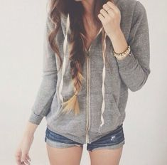 Zip up hoodie with shorts for the sum-sum-summertime! Have been looking for a gray zip-up for awhile.