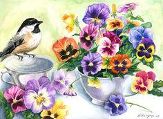 Pansies in a Teacup Painting