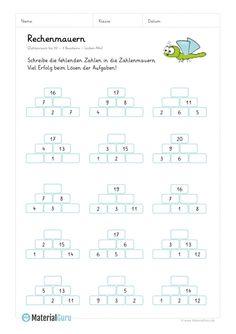 Arbeitsblatt: Rechenmauern - 3 Bausteine - Zahlenraum 20 - Lücken-Mix Math 2, 1st Grade Math, Math Class, Math Games, First Grade, Abstract Coloring Pages, Math Sheets, Abc For Kids, Word Problems