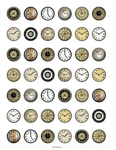 INSTANT DOWNLOAD Vintage Clock Faces 1 inch Circles by katypixels