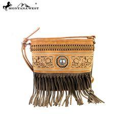 5e3958e47ea1 MW352-8287 Montana West Fringe Collection Crossbody Bag-Brown