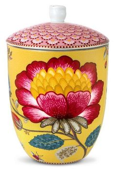 Pip Studio Yellow Fantasy storage jar