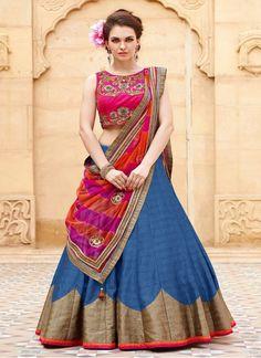 Buy Pink And Blue Baglori Silk Lehenga Choli