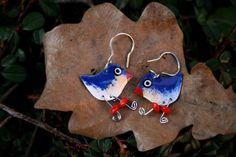Enameled whimsical cute bluebird charm dangle by HorakovaDesigns, $19.00