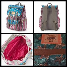 """HP -NWT Juicy Couture Sequin Backpack Host Pick for Best in Bags themed Party.  NWT Juicy Couture Sequin Backpack. Brand new, retail is 99.00$. 3 interior pockets, 3 exterior. 13""""X11.25""""x5.5""""-  dimensions. Made from nylon and faux leather. No trades, no PP, offers using the offer button please- Bundle to save :) Juicy Couture Bags Backpacks"""