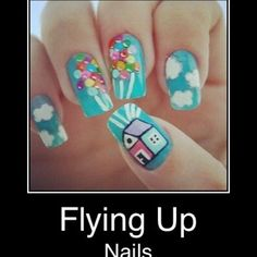 """UP"" themed nails! So Cool. It looks easy enough."