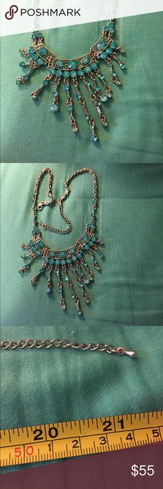 Stunning turquoise rhinestone necklace Vintage look BEAUTIFUL! Adjusts to fit perfectly.  Guaranteed to get compliments!!! Jewelry Necklaces