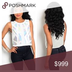 White crop top This top is sooooo cute! Pair it with some shorts or skirt for a futuristic and fab look. Sleeveless top with iridescent panel inserts. Has a boxy fit. 97% polyester 3% spandex. Boutique Tops Crop Tops