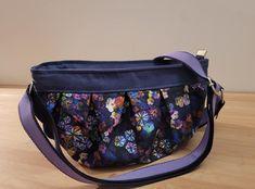 Sac Cancan violet fleuri cousu par Laurence - Patron Sacôtin
