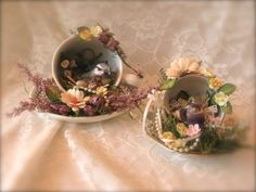 Spring Time Altered Tea Cups