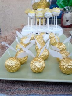 Golden snitch, ferrero rocher chocolates, harry potter baby showert