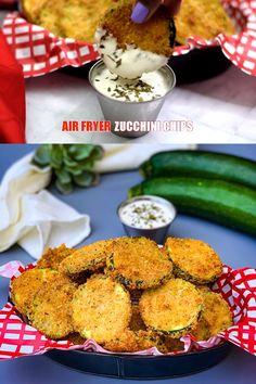 Easy Air Fryer Zucchini Chips is the best quick recipe to make fried zucchini with or without breadcrumbs for no breading. This healthy dish makes the perfect vegetable side dish or appetizer. Fried Zucchini Chips, Fried Zucchini Recipes, Zucchini Pommes, Air Fried Vegetable Recipes, Zuchinni Chips, Zucchini Side Dishes, Zucchini Chips Recipe, Healthy Zucchini, Zucchini Pasta