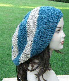 Long Dread Tam Hippie Slouchy Beanie Tam Hat in Teal and Tan Stripes
