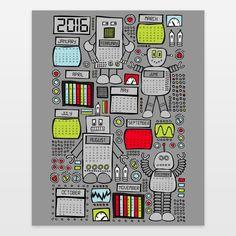 Retro Robots 2016 Calendar Art Print by robyriker on BoomBoomPrints