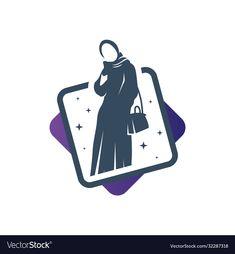 Anime Muslim, Muslim Hijab, Vector Logo Design, Logo Design Template, Mosque Silhouette, Woman Silhouette, Hijab Logo, Company Symbol, Princess Logo