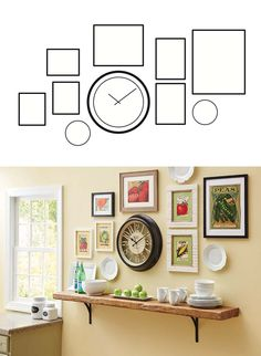 FROM OUR MAY AD IN BETTER HOMES AND GARDENS MAGAZINE - How To Create Your Own Gallery Wall: Choose one item as your focal point—like our stylish oversized Silhouette Wall Clock!  Download & print this image to get started!