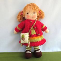 Little Nellie Nutkins - knitted toy doll - INSTANT DOWNLOAD - PDF email knitting pattern - ePattern