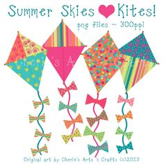 Kite Clip-art for Cherie -instant Download Summer Kites Graphics Set by CheriesArtsnCrafts, $2.50