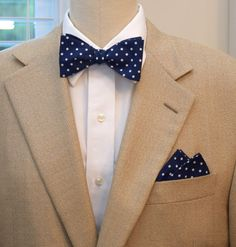 Men's Bow Tie and Pocket Square in classic navy with white polka dots