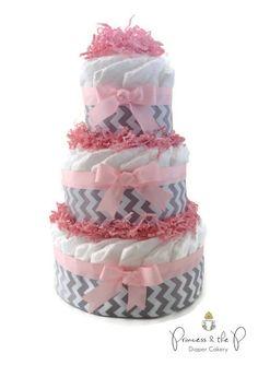 Diaper Cake Grey Chevron 3 Tier, your choice of color, baby Shower, centerpiece, decoration, nursery decor, chevron baby