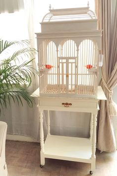 Vintage white wood birdcage. Sweet home for my couple red canaries :)